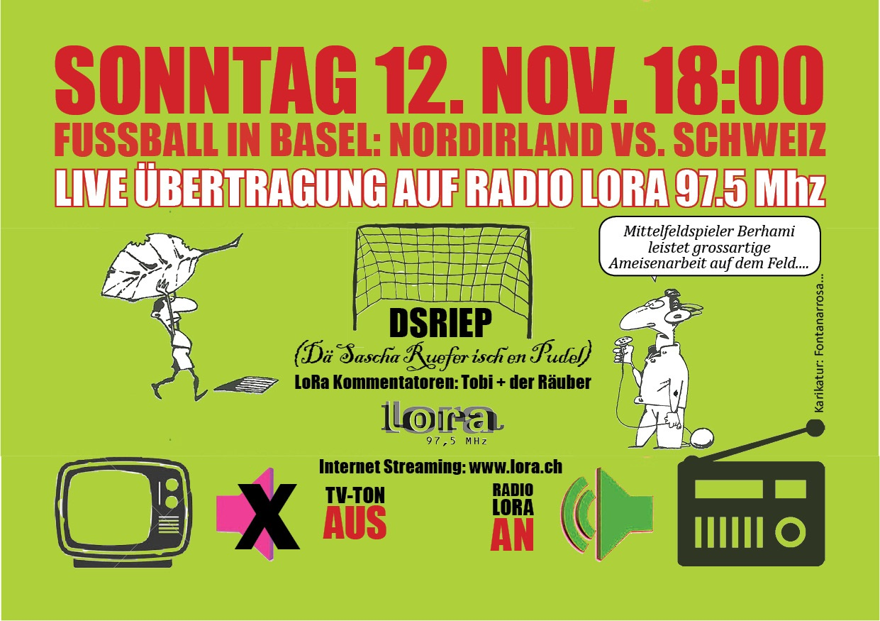 radio bertragung des fussball spiels nordirland schweiz im basel. Black Bedroom Furniture Sets. Home Design Ideas
